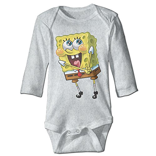 [PGiG Baby's Fashion Spongebob Cute Smile Hanging Bodysuit Romper Playsuit Outfits Clothes Climbing Clothes Long Sleeve] (Spongebob Outfit)