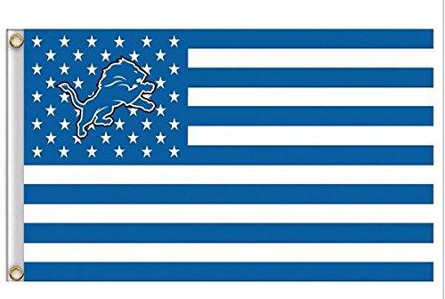 NFL Detroit Lions Stars and Stripes Flag Banner - 3X5 FT - USA FLAG ()