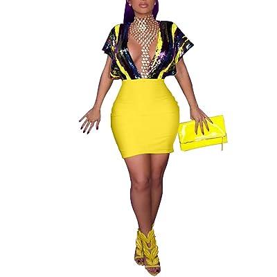ECHOINE Women's Sequin Dress Deep Backless Bodycon Mini Party Club Dress S Xxxl at Women's Clothing store