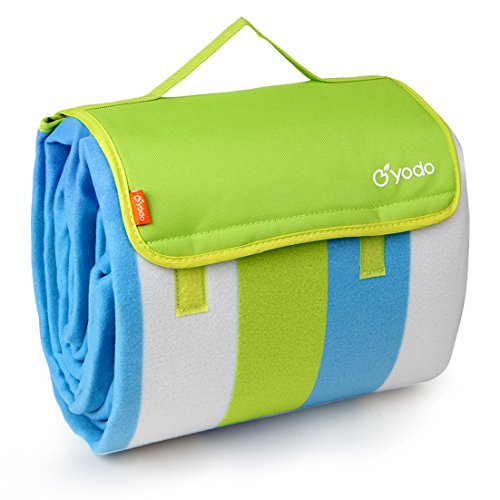 "yodo Extra Large Outdoor Waterproof Picnic Blanket Tote 79"" x 79"",Green Stripe"