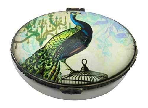 Value Arts Elegant Peacock Trinket Box, Ceramic and Glass, 2.75 Inches Wide