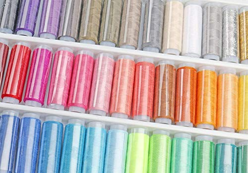Luxbon Sewing Threads Kits 39 Colors Rainbow Polyester Sewing Thread Box Kit Set Ideal for Hand Sewing/ Embroidery/ Quilting Stitching