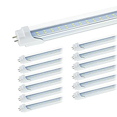 """JESLED T8 4FT LED Tube Light Bulbs, 6000k Cool White, 24W 3000LM, Clear Cover, 4 Foot 48"""" T12 LED Replacement For Garage Warehouse Shops Fluorescent Fixture, Dual-end Powered, Ballast Bypass (12-Pack)"""
