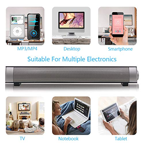 Soundbar TV Sound bar 3D Surround Sound Speaker, Mini Soundbar Home Theater with Remote Control Dual Connection Methods for TV PC Smartphones Music and Movie by Geekroom (Image #1)
