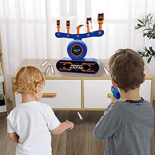 Elektrische Hover Ziescheibe für Nerf Pistole, digitales Bälle Ziel Set mit Kinder Gewehr, 30 Munition, 10 Schaumbälle, Soundeffekt, Kinder Blaster Spielzeug Schießspiel, Geschenk für Junge 6-15 Jahre
