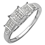 0.13 Carat (ctw) Sterling Silver Round White Diamond Ladies Micro Pave Engagement Ring (Size 9)