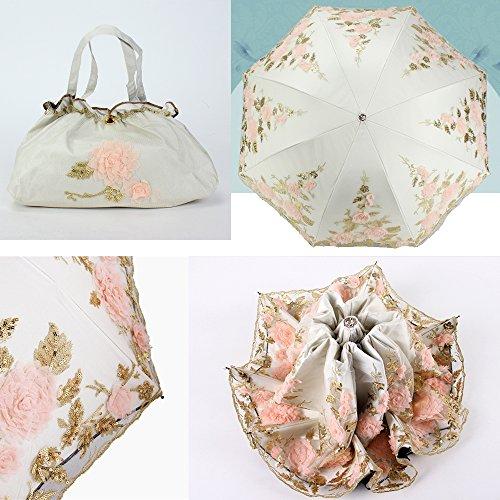 Honeystore Lace Parasol Decoration Bridal Shower Vintage Umbrellas for Wedding 3 Fold Beige by Honeystore (Image #2)