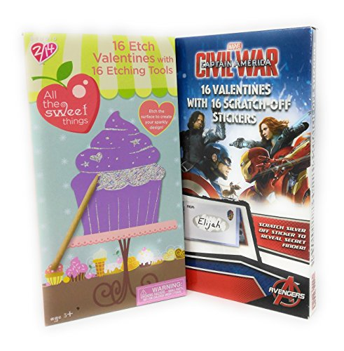 Happy Valentine's Day 16 Etch with Etching Tool with 16 Cards with Scratch off Stickers Marvel Civil - Scratch Promotion Old