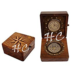 Antique Pocket Watch Compass Marine Nautical Desk Clock Brass Made Table Decor