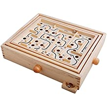 Topwon Wood Labyrinth Table Maze / Balance Board Table Maze Solitaire Game for Kids and Adults - Large - Great gift!