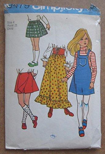 Vintage Sewing Pattern Girls Skirts Bib Jumper Skort Pantskirt Maxi Skirt Simplicity 9479 Size 4 (Vintage Skort)