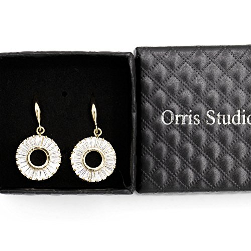 Orris Studios Sparkling Circle Hoop Dangle Earrings Full Moon Rose Gold ()