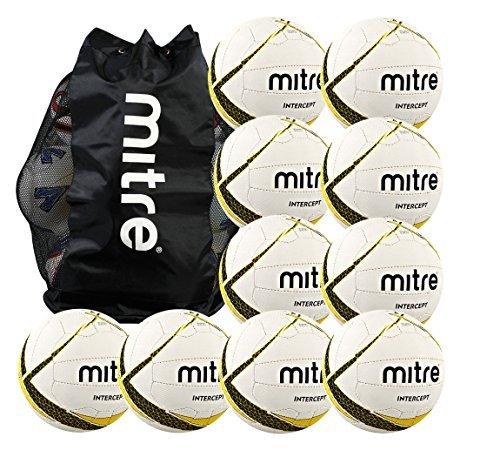 Mitre Intercept Netballパッケージ – 10サイズ4 netballs withフリーボール袋by mitre B01LE5RGSI