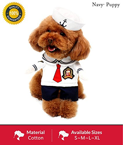 Pet Costume Sailor Clothing with Hat Peculiar Navy Clothes For Kitty/Small Puppy Halloween Party Cosplay (Dog Costumes Doggie Vogue)