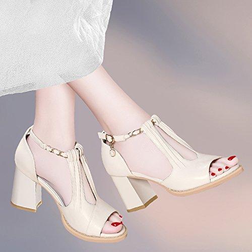 87daf579696d71 Jqdyl High Heels Sandalen Frauen mit neuen Sommer Schuhe Wild High Heels  Schuhe mit groben Schuhe Fisch Mund Schuhe 40
