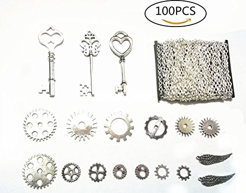 100PCS Antiqued Silver Metal Skeleton Keys and Wings,Steampunk Watch Gear Cog Wheel, Chains DIY Kits for Jewelry Making and Crafting,silver