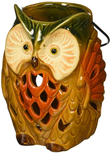 DII Thanksgiving Holiday Rustic Tall Owl Lantern Tea