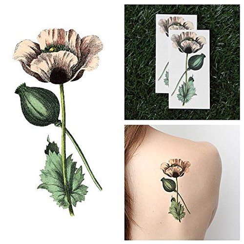 [Tattify Pink Poppy Temporary Tattoo - Pretty in Pink (Set of 2) - Other Styles Available and Fashionable Temporary Tattoos - Tattoos that are Long Lasting and] (Pretty In Pink Costumes)