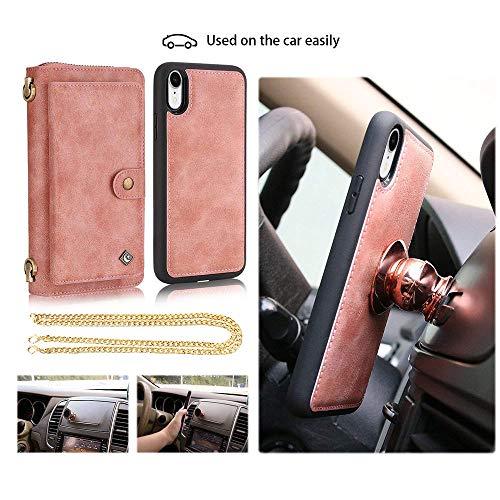 Jaz iPhone XR Wallet Case Crossbody Chain Satchel Zipper Purse Detachable Magnetic 14 Card Slots Momey Pocket Clutch Leather Wallet Case for Apple iPhone XR Rose Gold