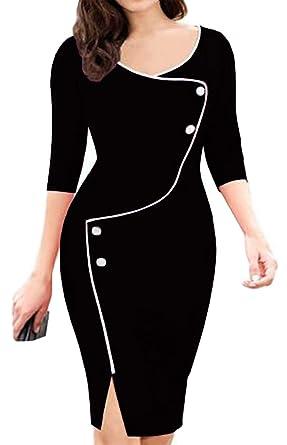 fe5376c8be7 Scothen Femme Robes Fourreau élégantes Manches Longues Genou Amincissent Moulante  Robe de soirée