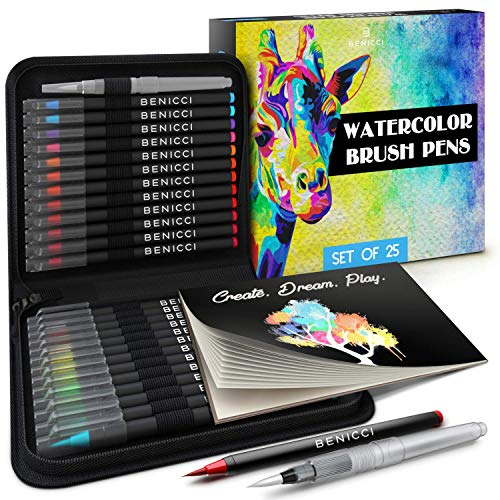 Artist Watercolor Brush Pens Set of 26 - Vibrant Markers with Bonus 1 Water Brush Pen - 25 Colors Flexible Nylon Tips - Paper Pad & Carry Case - Non-Toxic Safe & Fun Watercolors in Gift Ready Package
