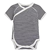 Mobycare Newborn Bodysuit Kimono Short Sleeve Onesie with Side Snap 100% Cotton (Stripe Black, 0-3 Months)