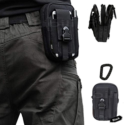Artcraft(TM) Black Molle Camo Bag Military 1000D Nylon Utility Tough Heavy Duty Tactical Compatible Waist Pack Universal Waist Bags Casual Climbing Hiking Outdoor Rock Gear Holster Pouch Cycling Carrying Big Pouch Belt Waist Bag / Pocket for Lenovo ALL FIT Case Cover Skin