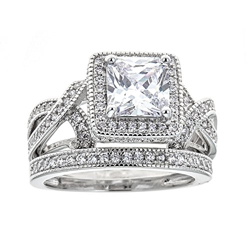 White Gold Plated Princess-Cut Cubic Zirconia Bridal Ring Set (6)