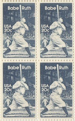 Amazon Babe Ruth Set Of 4 X 20 Cent US Postage Stamps NEW Scot