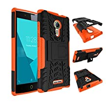 Qiaogle Phone Case - Shock Proof TPU + PC Hybrid Armor Stents Case Cover for Alcatel One Touch Flash 2 (5.0 inch) - HH17 / Black & Orange