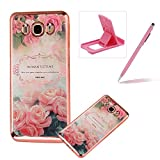 Clear Case for Samsung Galaxy J500 2015,Electroplated Frame Soft TPU Cover for Samsung Galaxy J500 2015,Herzzer Pretty Stylish Romantic Rose Design Shock-Absorbing Transparent Rubber Silicone Back Skin Protective Case for Samsung Galaxy J500 2015