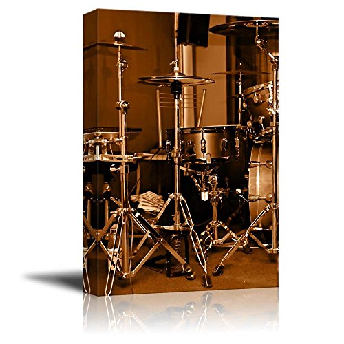 Canvas Prints Wall Art - Drum Kit/Drum Set with Gilded Color Vintage/Retro Style | Modern Wall Decor/Home Decoration Stretched Gallery Canvas Wrap Giclee Print & Ready to Hang - 24