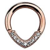 16 Gauge 5/16'' - CZ Lined V-Shape 14K Rose Gold Hinged Segment Ring