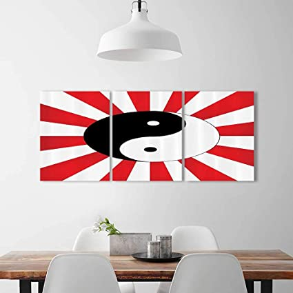 Wall Art For Living Room Decor 3 Piece Set Frameless Traditial Asian Themed Ying Yang Chinese