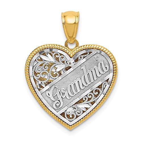 Reversible Grandma Heart Charm - Filigree Grandma Heart Pendant Granny Love Charm Reversible Fashion 14K Yellow Gold