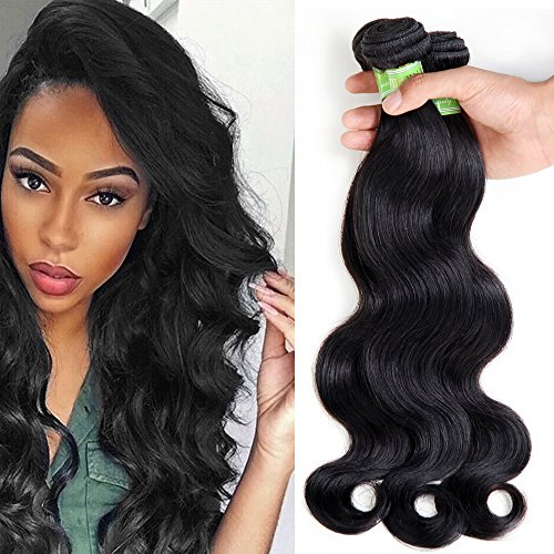 (Golden Rule Virgin Brazilian Hair Body Wave Bundles Unprocessed Human Hair Weave Remy Hair Extensions Natural Color 3 PCS Mix Length (18