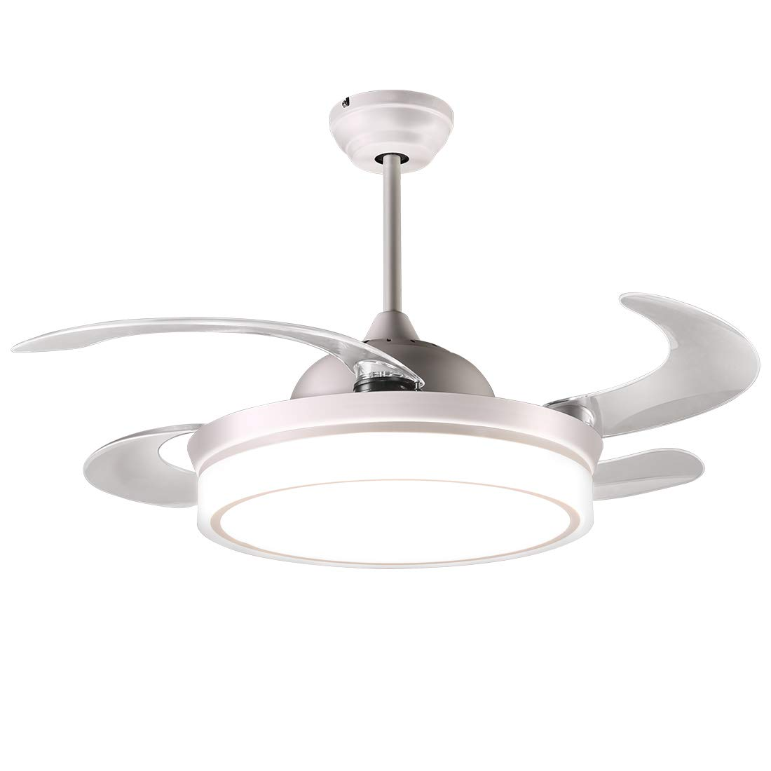 reiga 44-inch White Modern Ceiling Fan Retractable Blades with Dimmable LED Lights, Remote Control, 2 Down-rods