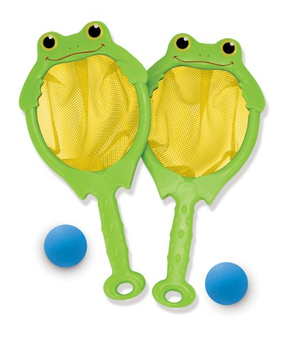 (Melissa & Doug Sunny Patch Froggy Toss and Catch Net Game With 2 Balls )