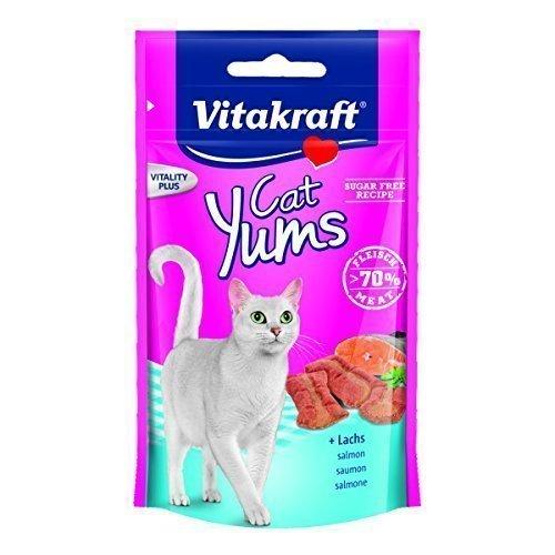 Vitakraft Katzensnack Cat Yums plus Lachs - 9 x 40g