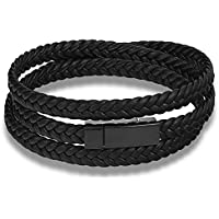Moneekar Jewels Mens Bracelet Stainless Steel Braided Real Leather Braid Adjustable Bracelet Leather Cord for Men -