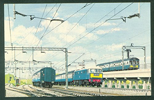 Electric Express Trains Fly Over Rugby British Railroad Passenger Postcard