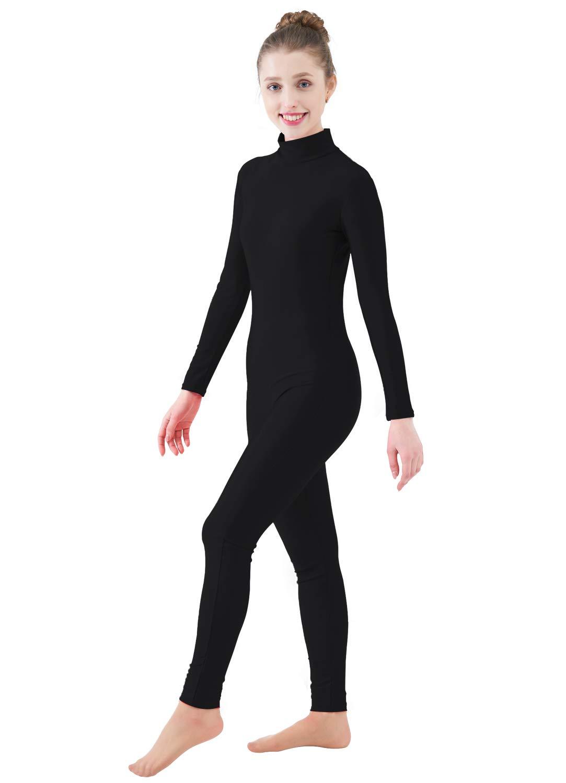 Ensnovo Womens Turtleneck Spandex Long Sleeve Footless Dancewear Unitard Blackl