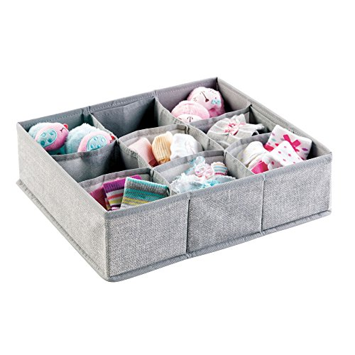 mDesign Soft Fabric 9 Section Dresser Drawer and Closet Storage Organizer for Child/Baby Room, Nursery, Playroom – Divided Large Organizer Bin - Textured Print, Gray