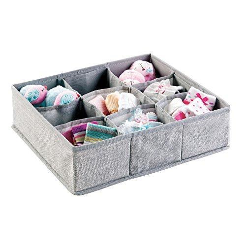 mDesign Soft Fabric 9 Section Dresser Drawer and Closet Storage Organizer for Child/Baby Room, Nursery, Playroom – Divided Large Organizer Bin - Textured Print, Gray (Storage Drawers Dresser)