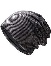 WINSTON-UK Czapka męska czapka kapelusz dzianinowy pled miękki elastyczny kabel czapka outdoorowa czaszka Chunky damska pled mankiet ciepła czapka męska zima prezent na zimę (szara)