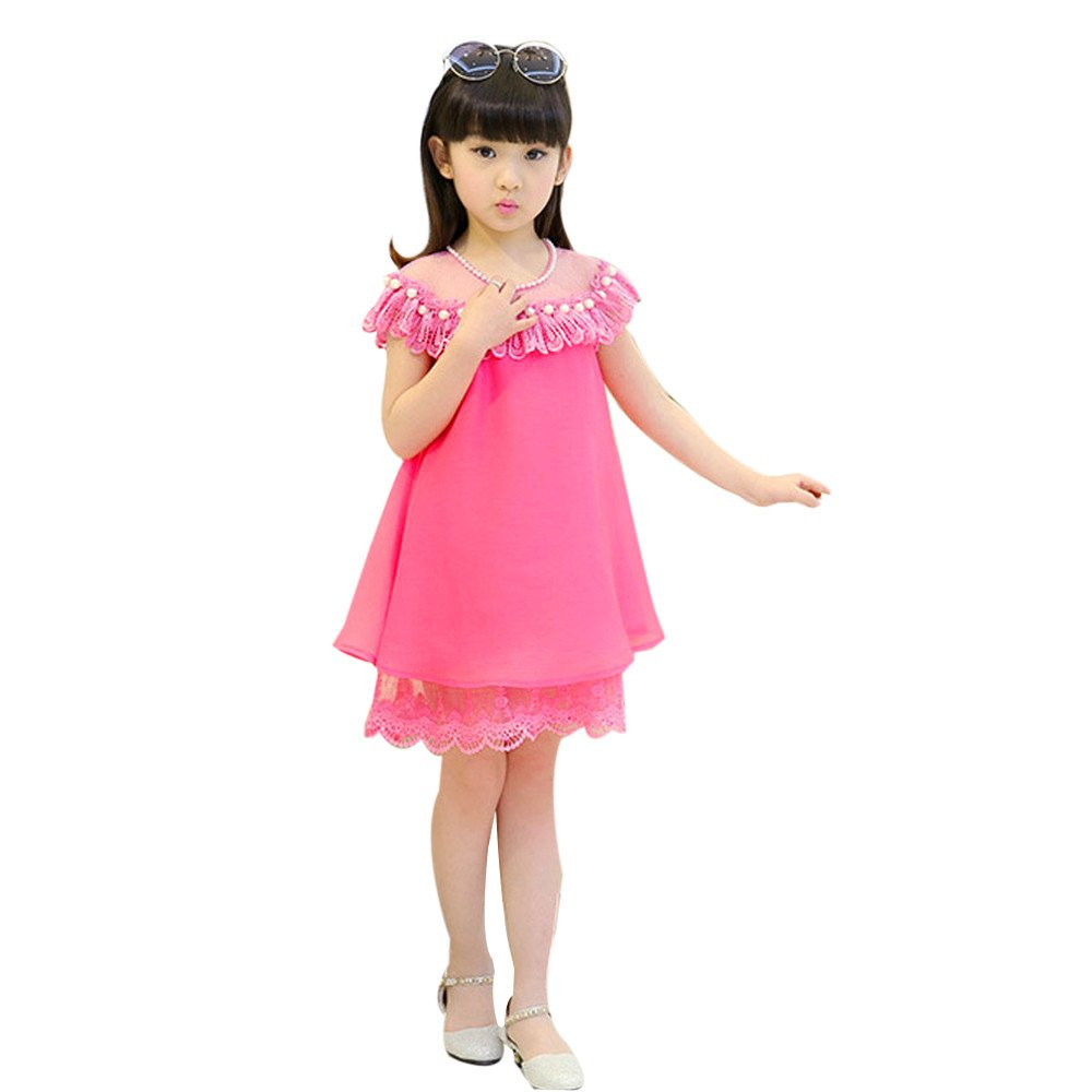 Suma-ma Princess Dress Children's Evening Clothing Lace Party Pearl Dress Kids Baby Girl (6T, Hot Pink)