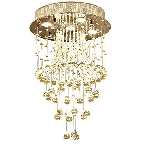 NOXARTE Modern Crystal Chandelier LED Ceiling Light K9 Crystal Raindrop Chandelier Flush Mount Pendant Lamp 5 GU10 Bulbs Lighting Fixture for Living Dining Room Bedroom D15.7'' x H23.6'' by NOXARTE