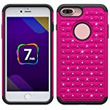 iPhone 7 Plus Case,Krisstore iPhone 7 Plus Cover, Studded Rhinestone Crystal Bling Hybrid Armor Defender Dual Layer Case Cover For iPhone 7 Plus[5.5'']-Hot Pink