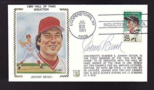 """Johnny Bench Signed 1989 Hall of Fame Induction""""Z"""" Cachet FDC Cover Auto - JSA Certified - MLB Cut Signatures"""