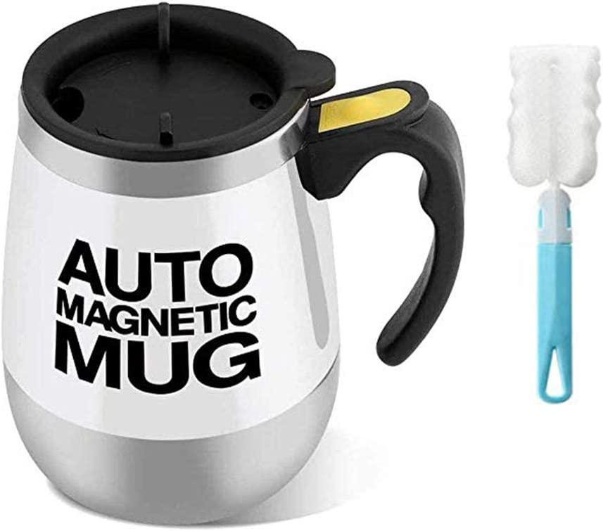 Auto Magnetic Mug Stainless Steel Self Stirring Mug Automatic Mixing Tea Hot Chocolate Cocoa Protein 400Ml Free Water Cup Brush (white)